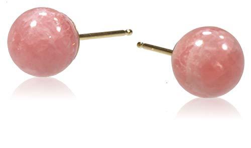 14k Gold Rhodochrosite Round Stud Earrings 7mm