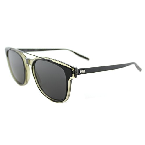 Dior Black Tie 211S VVL Y1 Matte Kahki Black Plastic Square Sunglasses Grey - Dior Tie Black