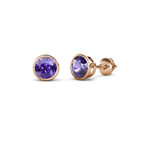 Iolite Bezel Set Solitaire Stud Earrings 0.80 cttw in 14K Rose Gold