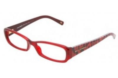 Dolce Gabbana 3085 Womens/Ladies Designer Full-rim Spring Hinges Eyeglasses/Glasses (53-16-135, Transparent Red / Leopard Print) (Eyewear Ella)