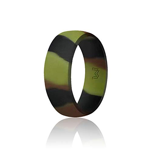 WIGERLON Mens Silicone Wedding Ring &Rubber Wedding Bands Width 8mm Color Green Camo Size 11]()