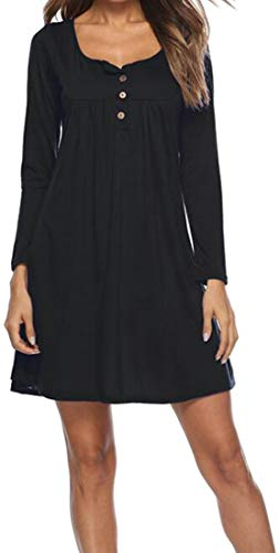 Les Femmes Cromoncent Manches Longues Occasionnels Robes Amples Automne Tunique De Changement Plissé Noir