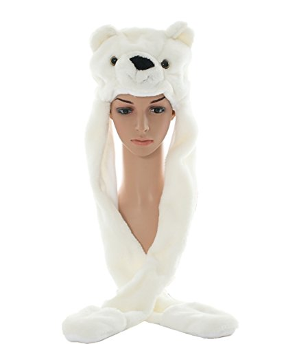 JOYHY Unisex Winter Plush Costume Hat with Paws Animal Hats Polar (Polar Bear Costumes Pattern)