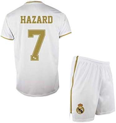 Conjunto Camiseta y pantalón 1ª equipación del Real Madrid 2019-20 - Replica Oficial con Licencia - Dorsal 7 Hazard - Niño Talla 8: Amazon.es: Deportes y aire libre