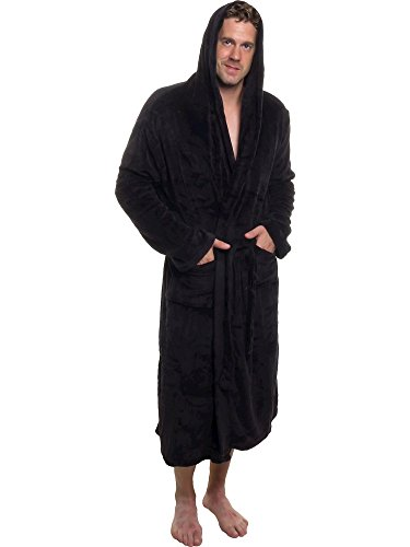 Ross Michaels Mens Hooded Robe - Plush Shawl Kimono Bathrobe (Black, S/M) (Wal Mart Spa)