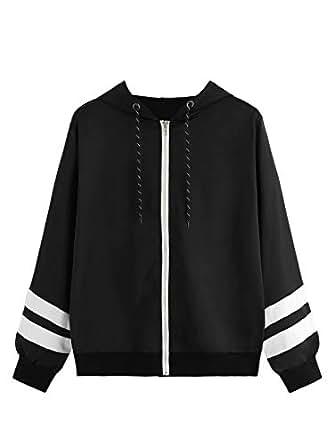 Milumia Women Mesh Drawstring Colorblock Zipper Pocket Hooded Lightweight Windbreaker Jacket Coat - Black - X-Small