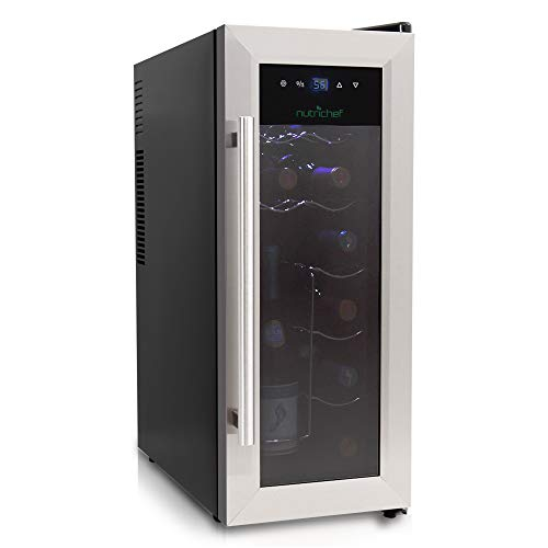 (NutriChef 12 Bottle Thermoelectric Wine Cooler / Chiller | Counter Top Red And White Wine Cellar | FreeStanding Refrigerator, Quiet Operation Fridge | Stainless Steel )