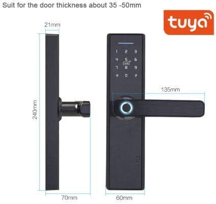 Fingerprint Smart Door Lock WiFi Touch Screen Fingerprint Password IC Card Smart Door Lock with Mechanical Key for Tuya Intelligent Touchscreen Biometric Digital Electronic Door Lock