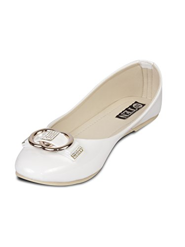 Ten Womens White Patent Leather Bellies (TENBLDDBLK) -6 UK
