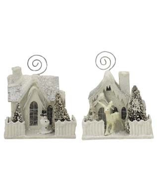 BETHANY LOWE Glitter Snow Covered House Placecard Holders