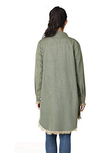 HIKA Women's Button Down Tassel Jean Jacket Denim Lapel Shirt with Pockets Green Small
