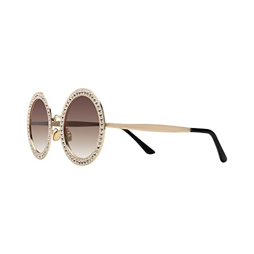 Large Round Sunglasses (ROYAL GIRL Round Sunglasses Women Oversized Metal Frame With Crystal Shades Gold Brown Lens)