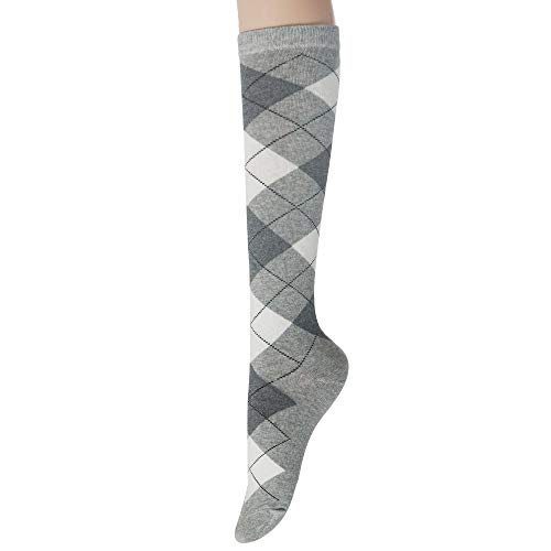 (Sockstheway Womens Casual Knee High Socks with Argyle Pattern Style (GrayWhite, 1pair))