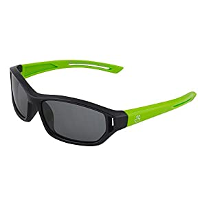 Kids Flexible Rubber Sunglasses for Boys and Girls - Black and Green Sporty Goggle Shield Style Bendable and Unbreakable Frame - 100% UV Protection and Polarized Lenses - By Optix 55