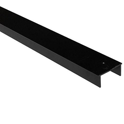 Slipfence 3 in. x 2 in. x 8 ft. Black Powder Coated Aluminum Fence Rail for Top of Fence