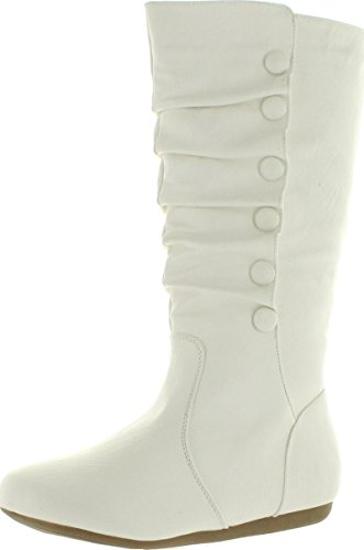 Top Moda Womens Bank-78 Mid Calf Round Toe Stiching Flat Boots,White,8 (White Boot Tops)