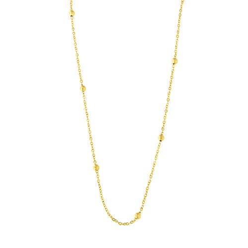 14k Yellow Gold Diamond Cut Bead Station Cable Link Chain Necklace 18 Inches
