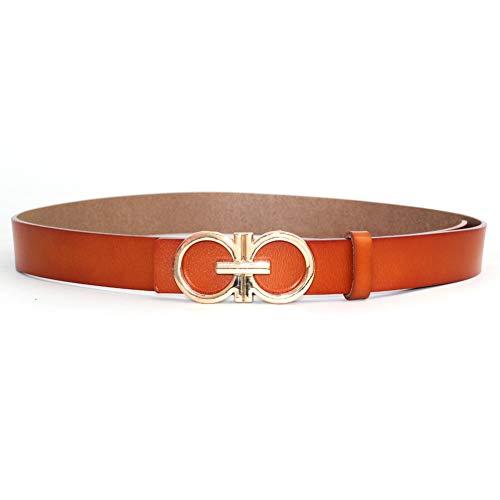 Buckle Designer (MoYoTo Womens 1.10″Wide Genuine Leather Fashion Designer Buckle Thin Belts For Dresses (Brown))