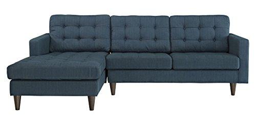 Empress Left-Facing Upholstered Sectional Sofa in Azure