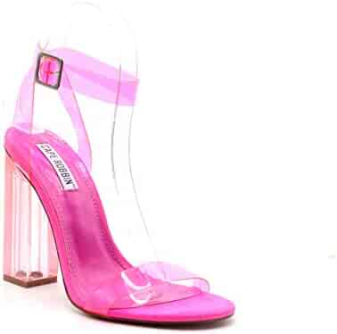 55582fb526b Cape Robbin Maria-2 Women's Lucite Clear Strappy Block Chunky High Heel  Open Peep Toe
