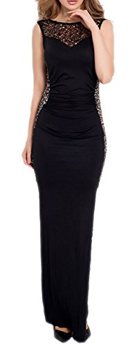 made2envy Sequin Lace Trim Maxi Dress (XL, Black) R80176XLB