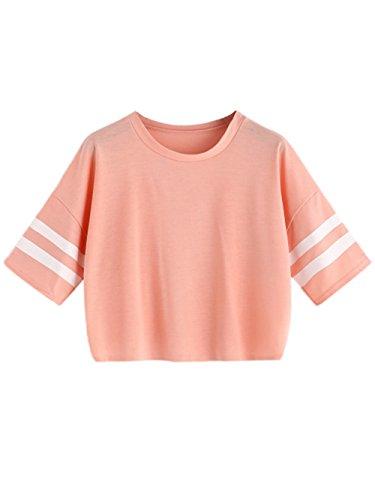 MAKEMECHIC Women's Short Sleeve Oversized Striped Summer Crop Tee T-Shirt Top Pink M