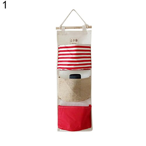 Braceus 3 Pockets Wall Door Closet Hanging Storage Bag Home Linen Fabric Organizer Pouch (1#)