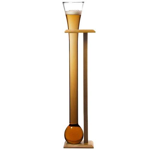bar@drinkstuff - Yard of ale, bicchiere da birra in vetro con supporto in legno di betulla