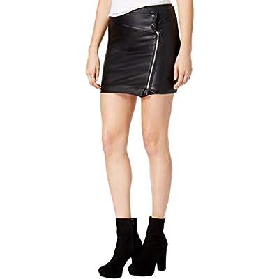 Guess Womens Dakotah Faux-Leather Asymmetric Mini Skirt
