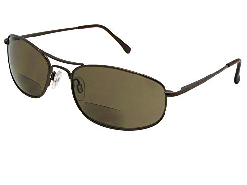 Style B2 Modified Aviator Bifocal Sunglasses With Sunglass Rage Pouch (Bronze Frame-Brown Lenses, 3.00)