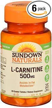 Sundown Naturals L-Carnitine 500 mg Tablets - 30 ct, Pack of 6