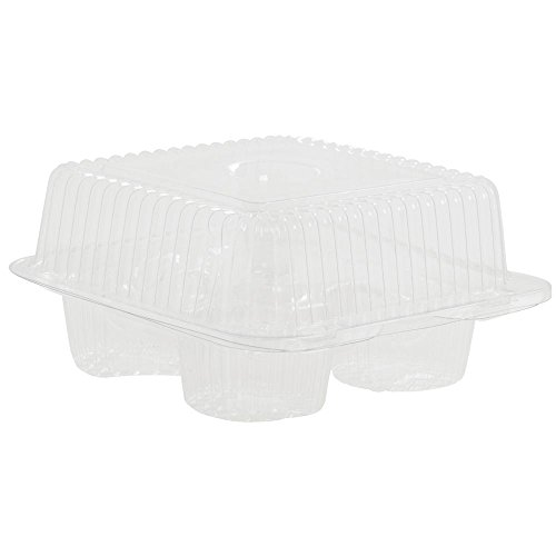 4 Count Cupcake Container Standard Plastic Hinged - 6 1/4 L