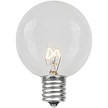 Amazon.com : Novelty Lights 25 Pack G50 Outdoor String Light Globe Replacement Bulbs, Clear, E12