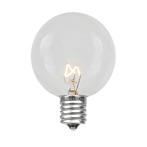 Novelty Lights 25 Pack G50 Outdoor String Light Globe Replacement Bulbs, Clear, E12/C7 Base, 7 ()