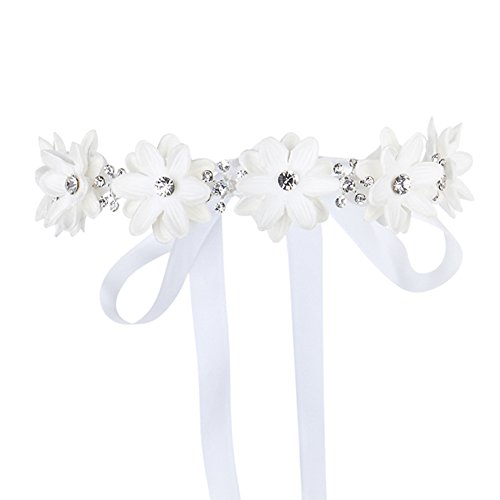 FAYBOX Flower Girls Elegant Headband Wedding Floral Hairbands Accessories(White)