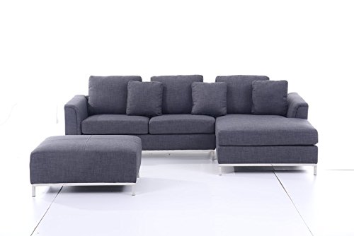 Beliani Oslo Modern Sectional Sofa with L-Shaped Couch, Grey