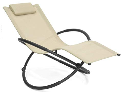 NAXPIER-X Outdoor Orbital Lounger Zero Gravity Chaise Foldable Rocking Chair for Camping, Fishing, Beach, Patio (Brown)