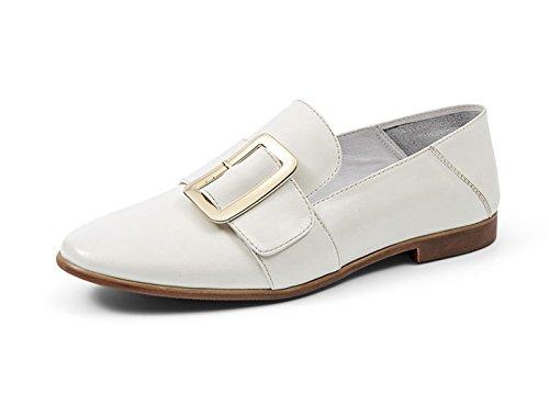 Honingwerk Dames Britse Vierkante Gesp Puntige Lederen Loafer Flats Schoenen Wit-2