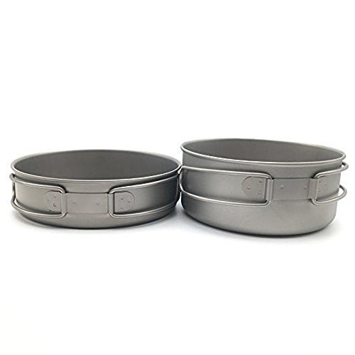 Igo Online Shop Titanium Lightweight 3-Piece Pot and Pan Outdoor Camping Hiking Picnic Cookware Set Camping Equipment (Ti1576B(Pan,Big pot.))