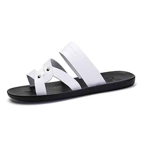 HGTYU Outer Wear Men Cool Slippers New Style Summer Beach Shoes Comfort Personality Tow Fashion Casual Slippers White XqoSwsx
