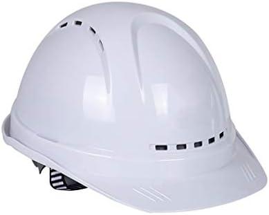 LCSHAN 建設ヘルメット肥厚ABS通気性調整可能アンチストレス (Color : White, Size : B)