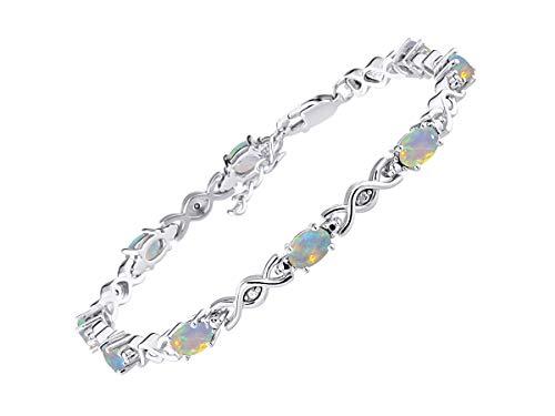 Stunning Exotic Ethiopian Opal & Diamond XOXO Hugs & Kisses Tennis Bracelet Set in Sterling Silver - Adjustable to fit 7