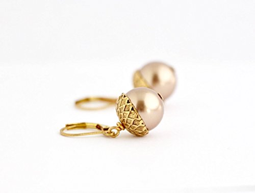 Pale Brown Simulated Pearl Acorn Dangle Earrings - Gold Plated - Lever-back Ear Wires Brown Pearl Drop