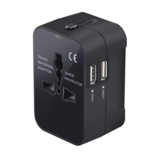 LKY DIGITAL Travel Adapter, Worldwide All in One Universal Power Adapter AC Plug International Wall Charger with Dual USB Charging Ports for US EU UK AUS Europe Cell Phone (Black)
