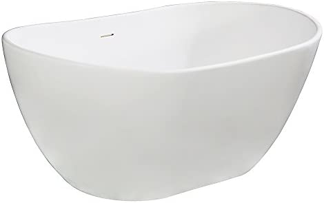 Kingston Brass Vrtrs573224 Aqua Eden 57 Inch Solid Surface Stone Freestanding Tub With Drain 56 5 16 X 23 5 16 X 23 5 8 Matte White