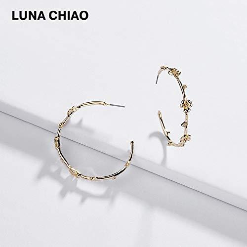 - Fashion Jewelry Gold Plating Flower Zirconia Big Hoop Earrings Circular Big Earring Hoops for Women