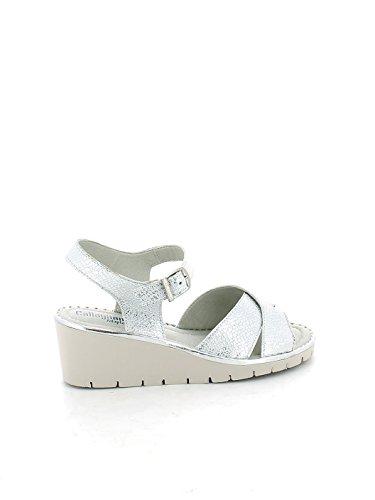 Sandalo in pelle argento con zeppa N. 39