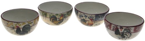 Certified International Lille Rooster 5-1/2-Inch Ice Cream Bowl, Assorted Designs, Set of 4