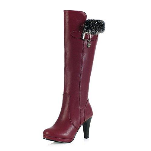 ZQ@QXNuestro código es fina con alta botas zapatos botas de hebilla de cilindro Red wine