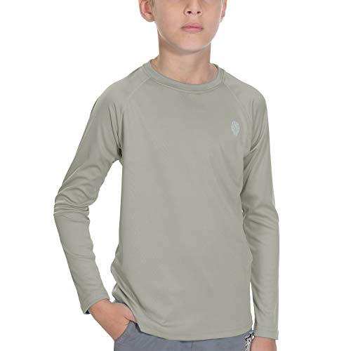 (Boys Sun Protection UPF 50+ UV Outdoor Long Sleeve T-Shirt with Grey L)